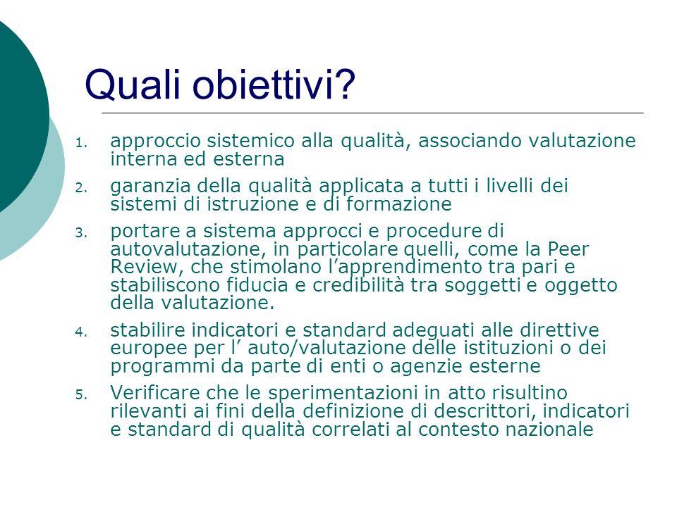 Quali obiettivi approccio sistemico alla qualità, associando valutazione interna ed esterna.