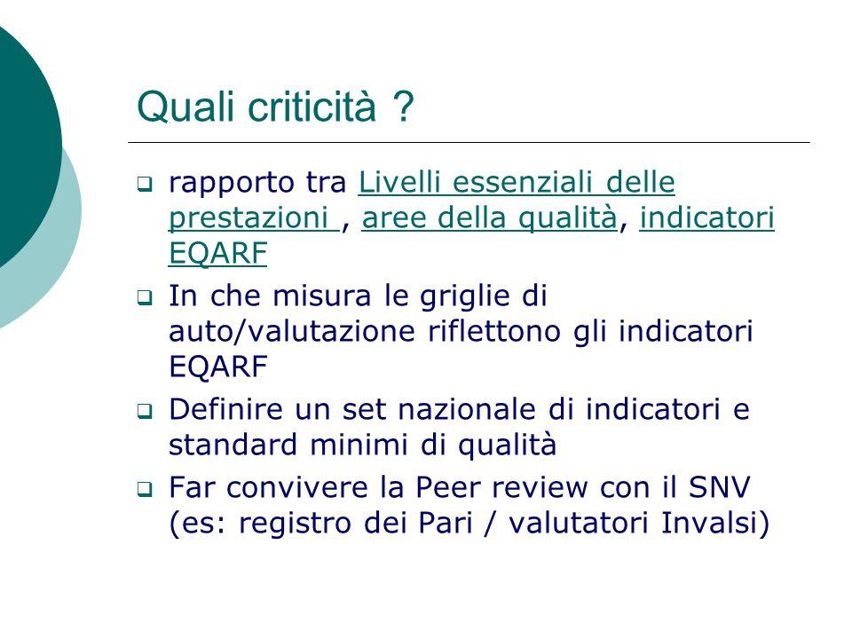Quali criticità rapporto tra Livelli essenziali delle prestazioni , aree della qualità, indicatori EQARF.