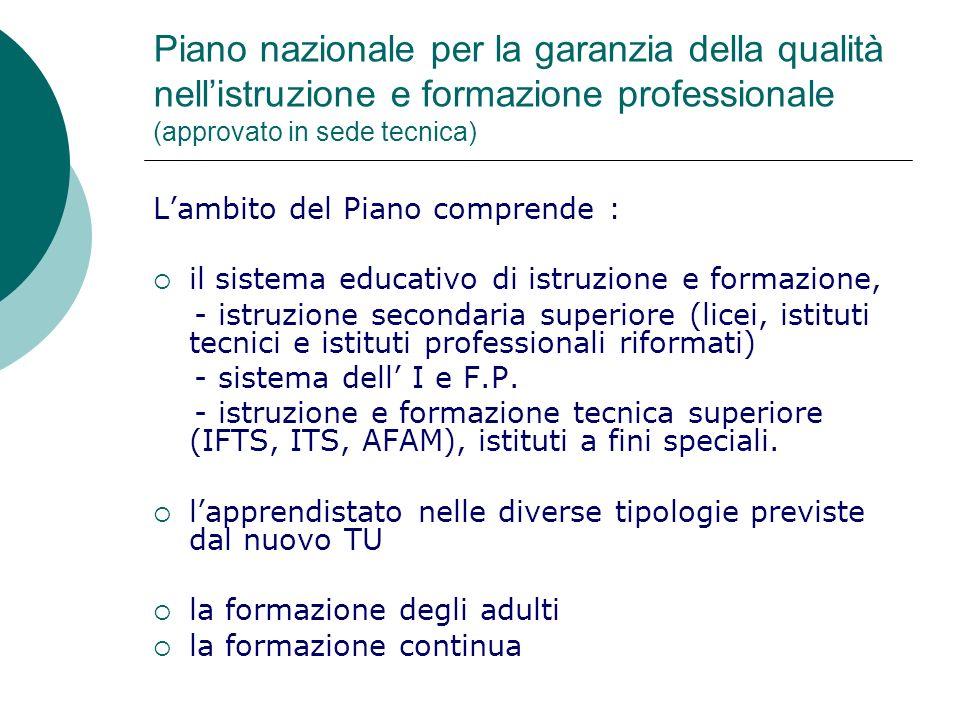 Piano nazionale per la garanzia della qualità nell'istruzione e formazione professionale (approvato in sede tecnica)