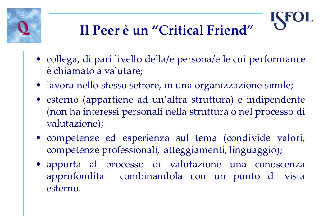 Il Peer è un Critical Friend