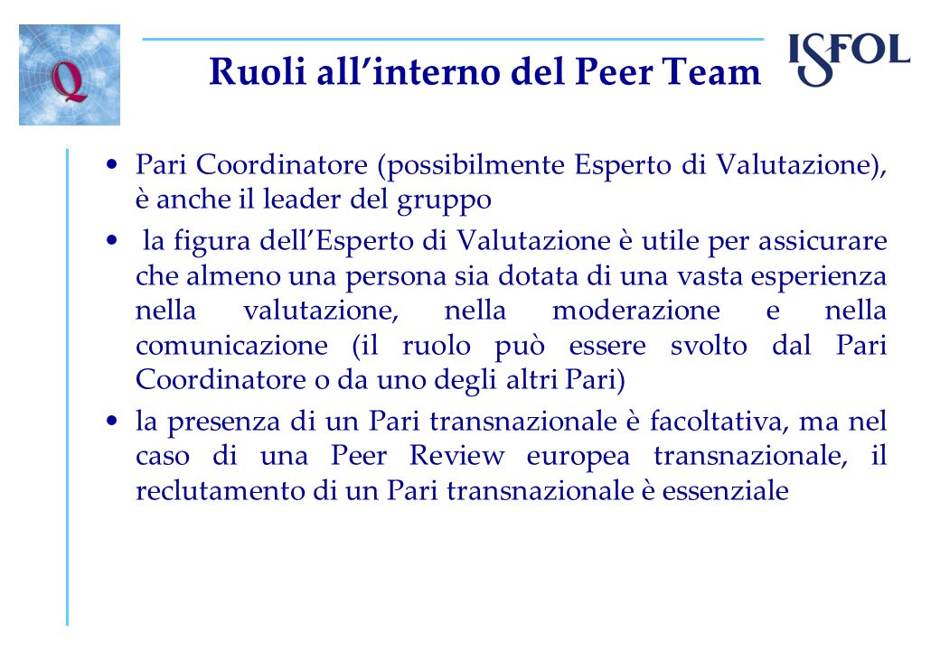 Ruoli all'interno del Peer Team