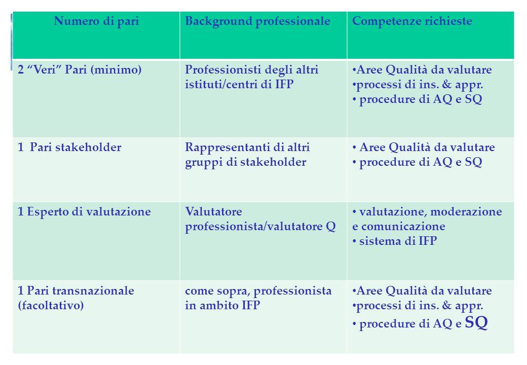 Numero di pari Background professionale. Competenze richieste. 2 Veri Pari (minimo) Professionisti degli altri istituti/centri di IFP.