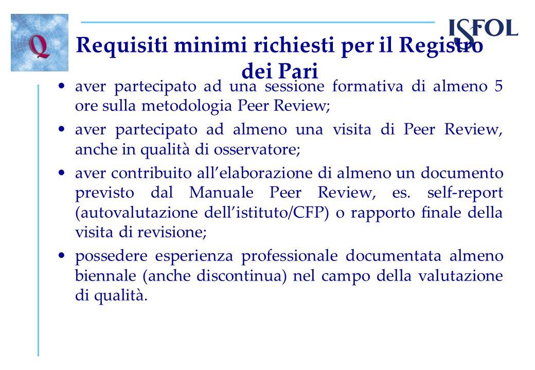 Requisiti minimi richiesti per il Registro dei Pari