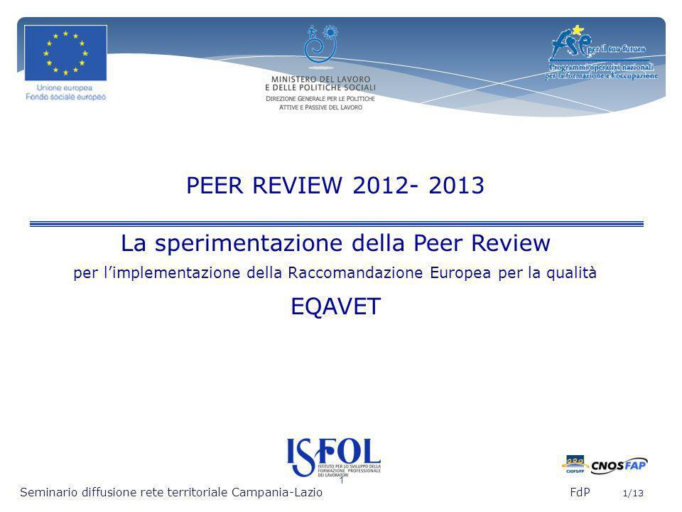 La sperimentazione della Peer Review EQAVET