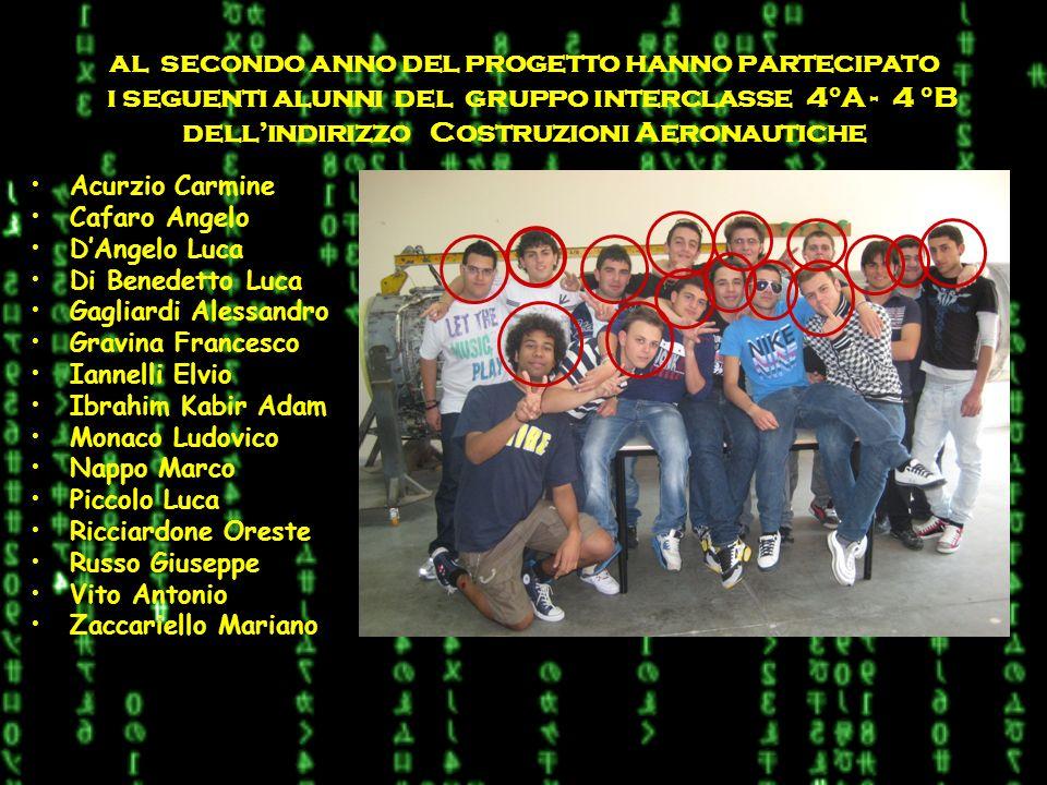 al secondo anno del progetto hanno partecipato i seguenti alunni del gruppo interclasse 4°A - 4 °B dell'indirizzo Costruzioni Aeronautiche