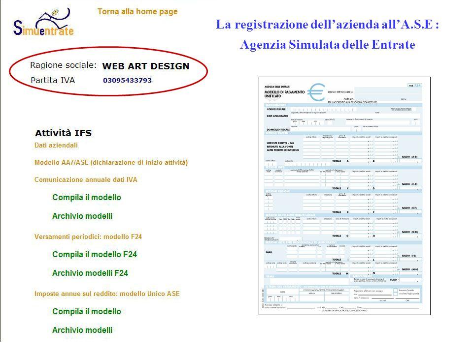 La registrazione dell'azienda all'A.S.E :