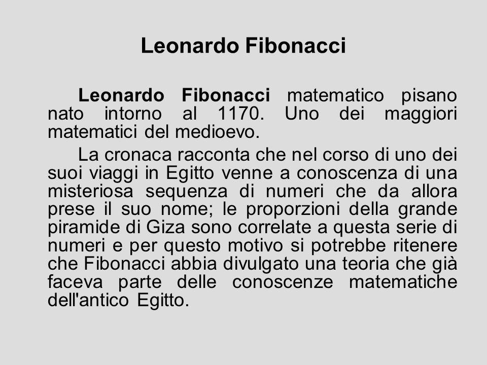 Leonardo Fibonacci Leonardo Fibonacci matematico pisano nato intorno al 1170. Uno dei maggiori matematici del medioevo.