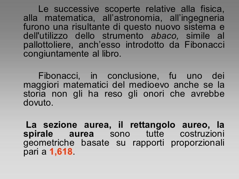 Le successive scoperte relative alla fisica, alla matematica, all'astronomia, all'ingegneria furono una risultante di questo nuovo sistema e dell utilizzo dello strumento abaco, simile al pallottoliere, anch'esso introdotto da Fibonacci congiuntamente al libro.