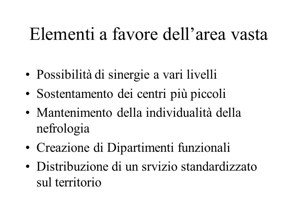 Elementi a favore dell'area vasta