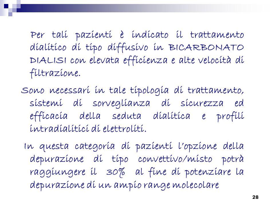 Per tali pazienti è indicato il trattamento dialitico di tipo diffusivo in BICARBONATO DIALISI con elevata efficienza e alte velocità di filtrazione.