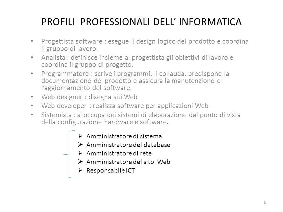 PROFILI PROFESSIONALI DELL' INFORMATICA