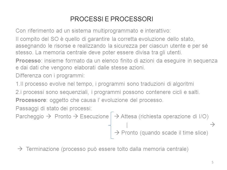 PROCESSI E PROCESSORI Con riferimento ad un sistema multiprogrammato e interattivo: