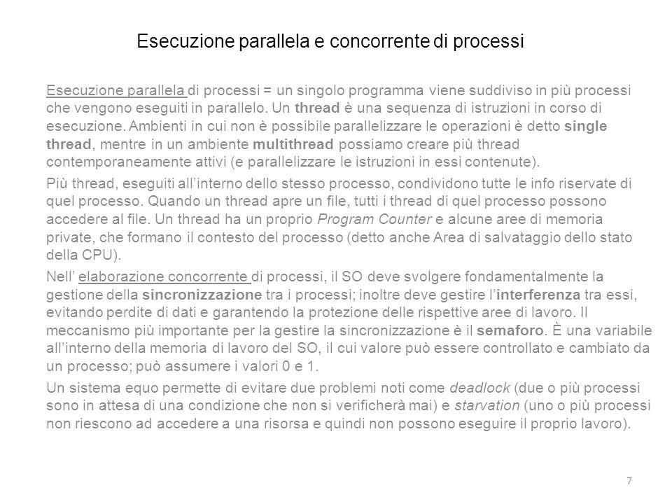 Esecuzione parallela e concorrente di processi
