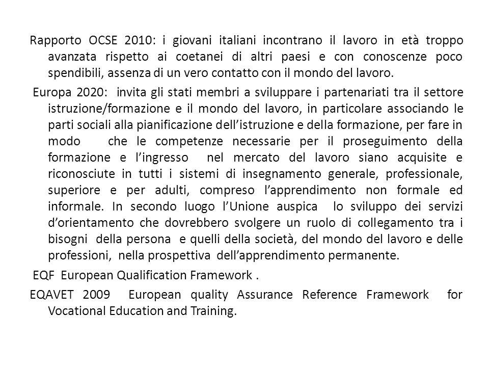 Rapporto OCSE 2010: i giovani italiani incontrano il lavoro in età troppo avanzata rispetto ai coetanei di altri paesi e con conoscenze poco spendibili, assenza di un vero contatto con il mondo del lavoro.