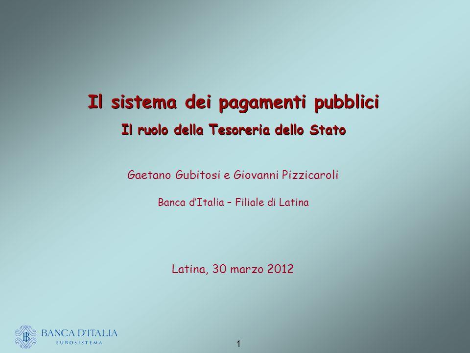 Il sistema dei pagamenti pubblici Il ruolo della Tesoreria dello Stato