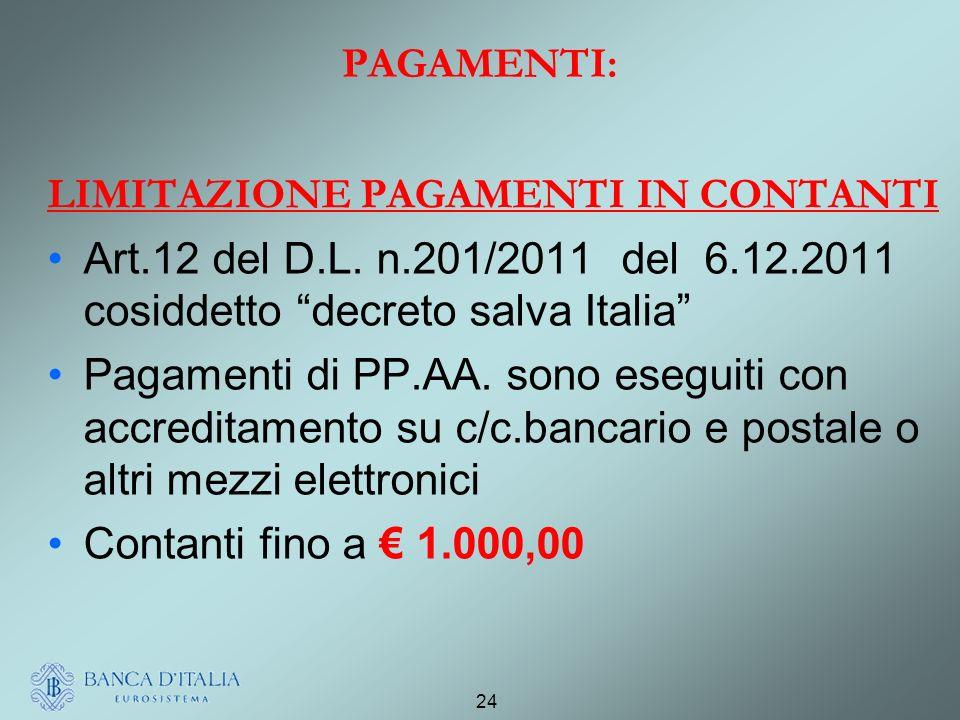 PAGAMENTI: LIMITAZIONE PAGAMENTI IN CONTANTI. Art.12 del D.L. n.201/2011 del 6.12.2011 cosiddetto decreto salva Italia