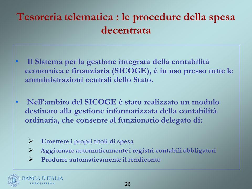 Tesoreria telematica : le procedure della spesa decentrata