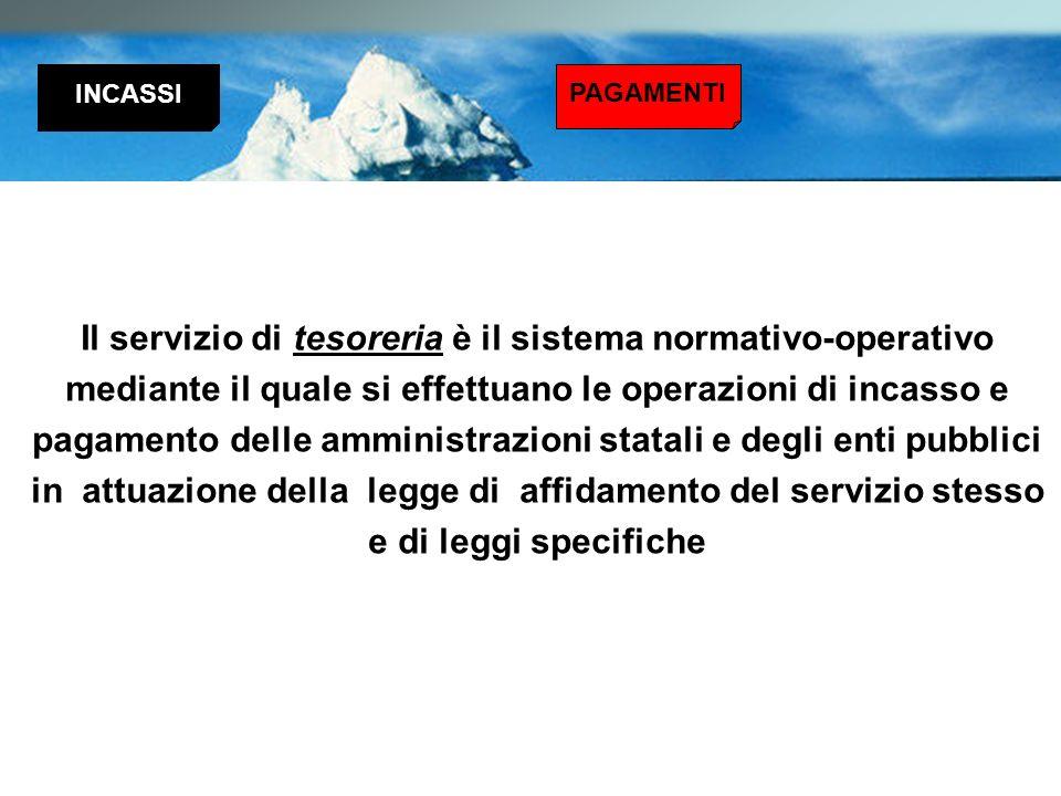 Il servizio di tesoreria è il sistema normativo-operativo