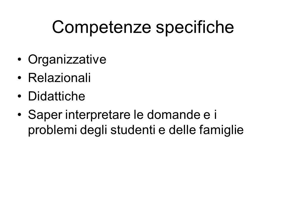 Competenze specifiche
