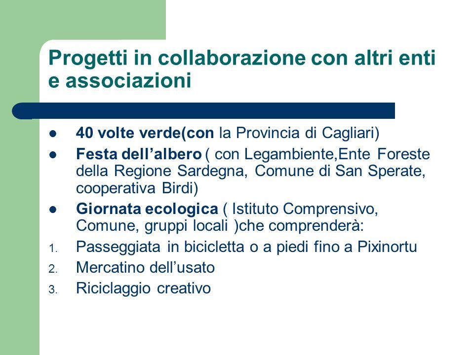 Progetti in collaborazione con altri enti e associazioni