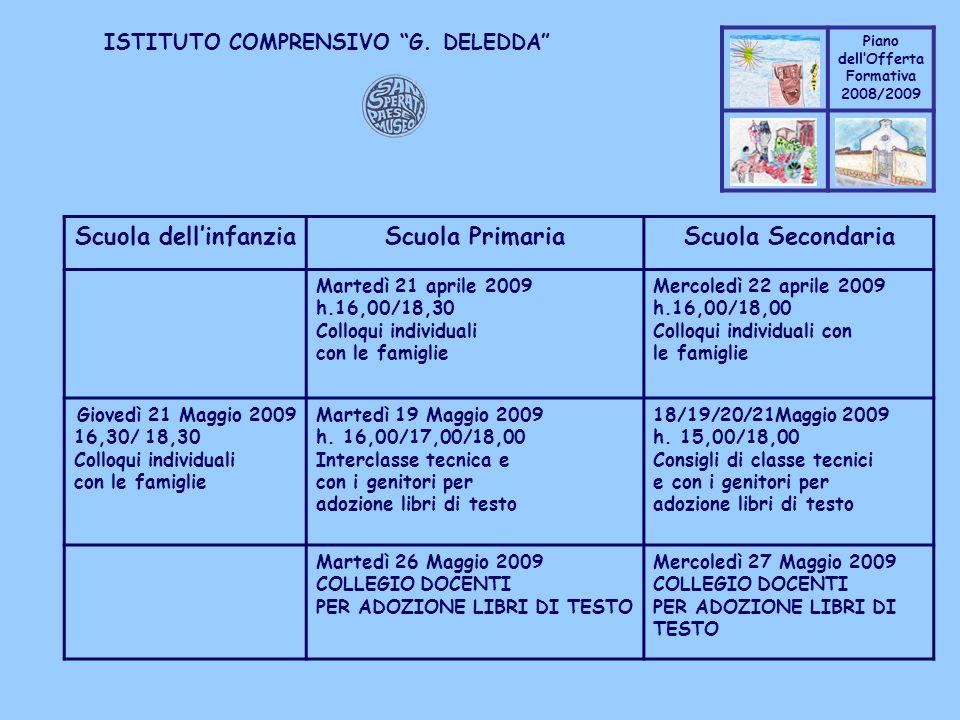 Scuola dell'infanzia Scuola Primaria Scuola Secondaria
