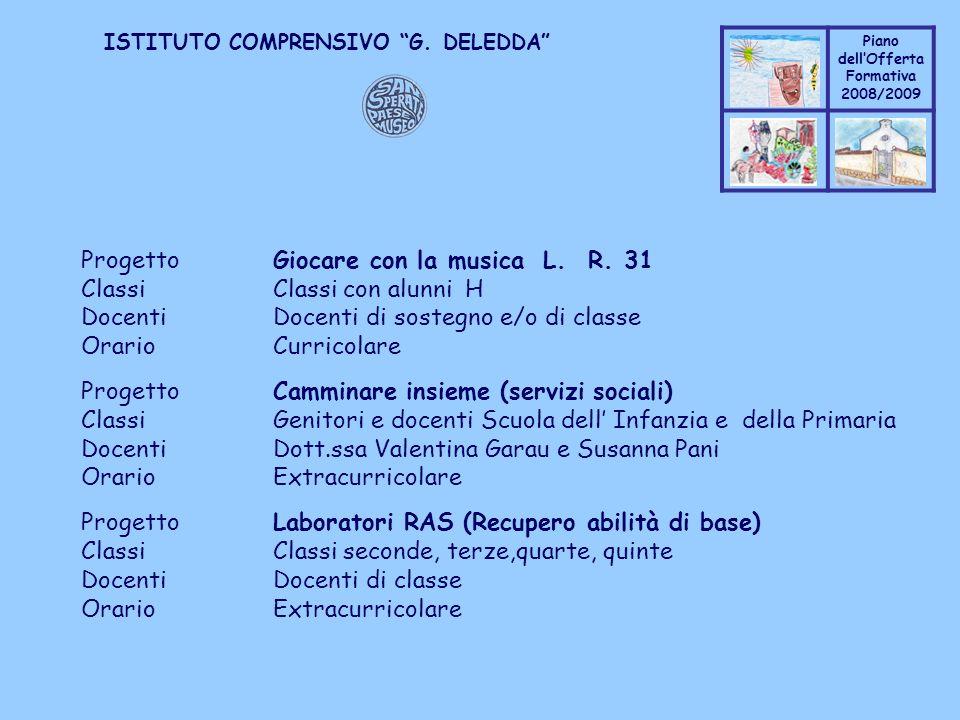 Progetto Giocare con la musica L. R. 31