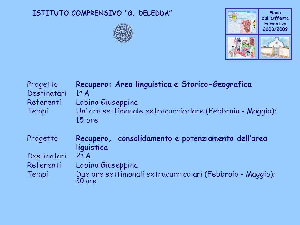 Progetto Recupero: Area linguistica e Storico-Geografica