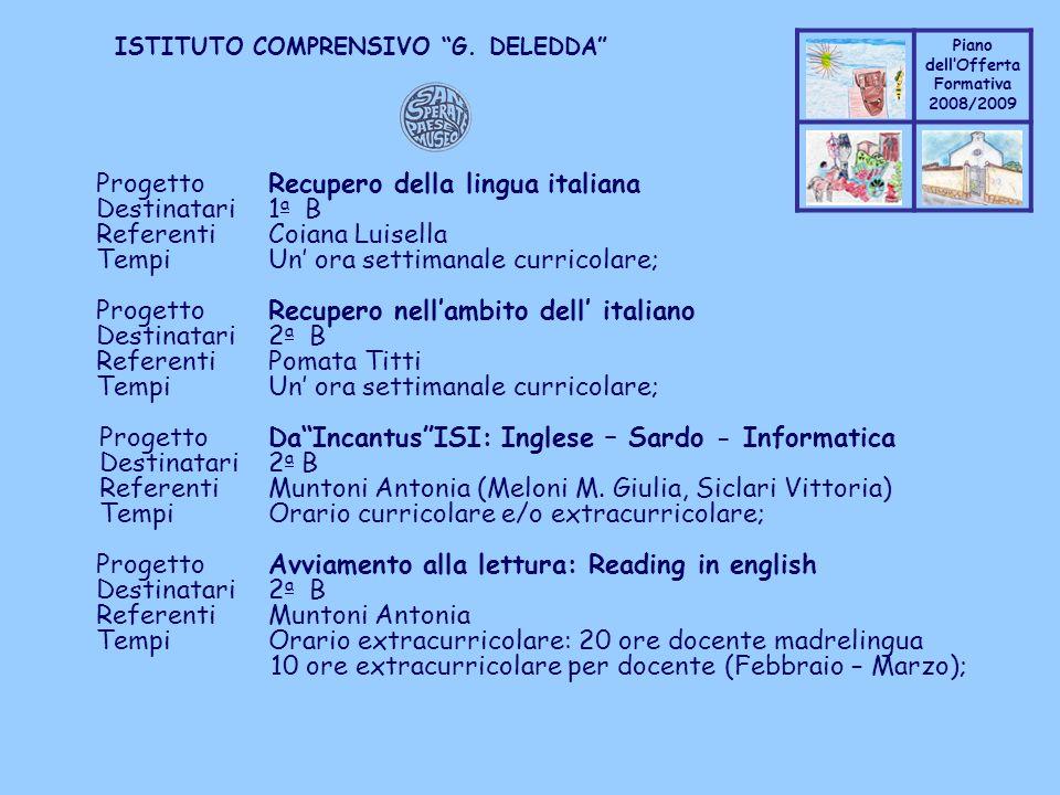 Progetto Recupero della lingua italiana