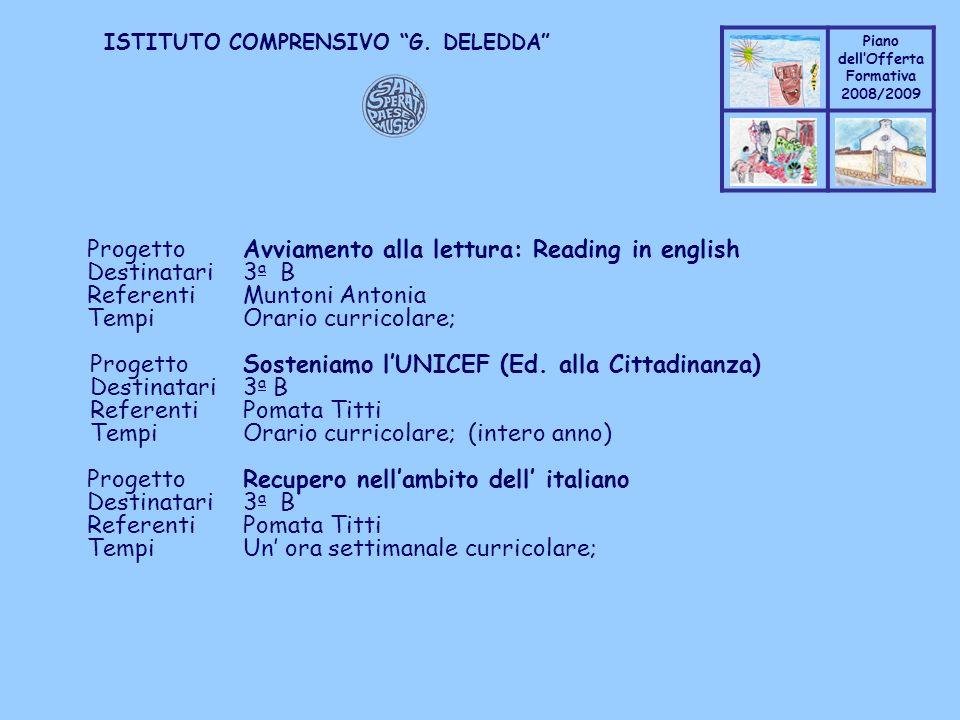 Progetto Avviamento alla lettura: Reading in english