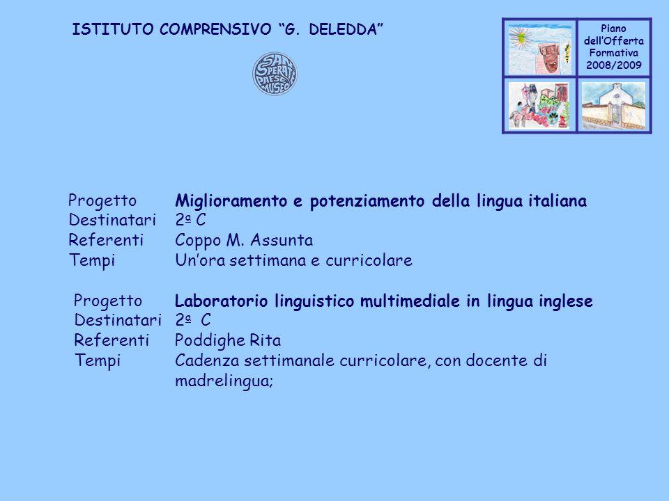 Progetto Miglioramento e potenziamento della lingua italiana