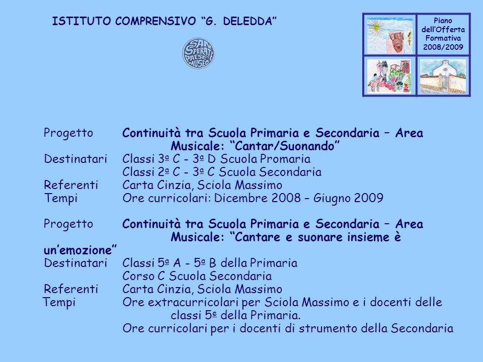 Progetto. Continuità tra Scuola Primaria e Secondaria – Area