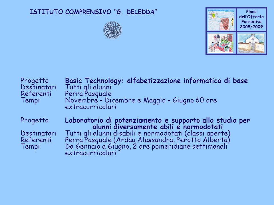 Progetto Basic Technology: alfabetizzazione informatica di base