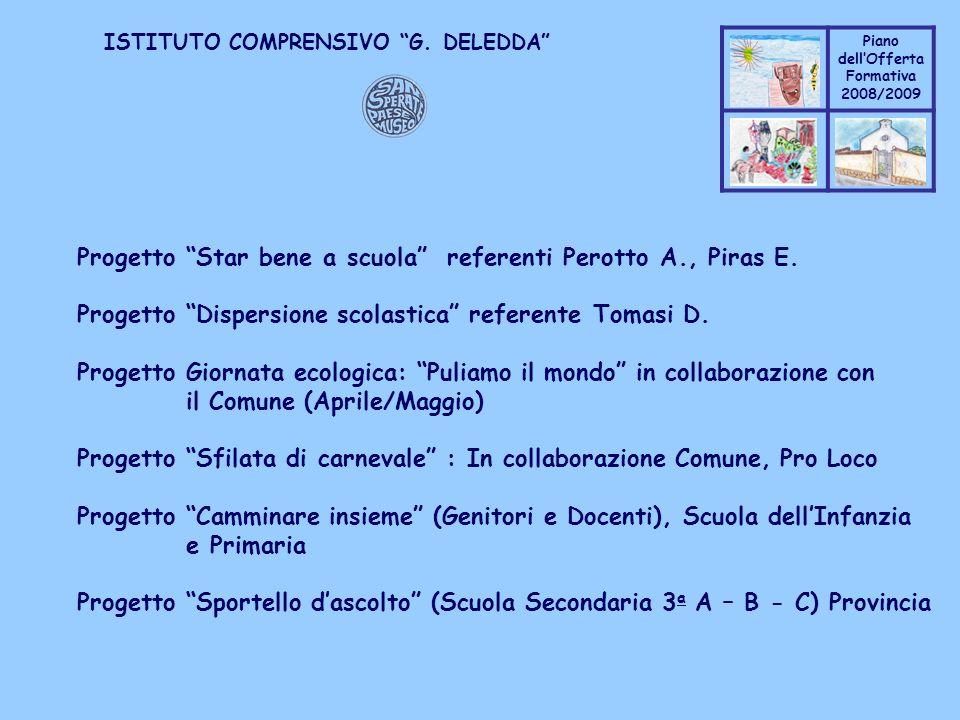 Progetto Star bene a scuola referenti Perotto A., Piras E.