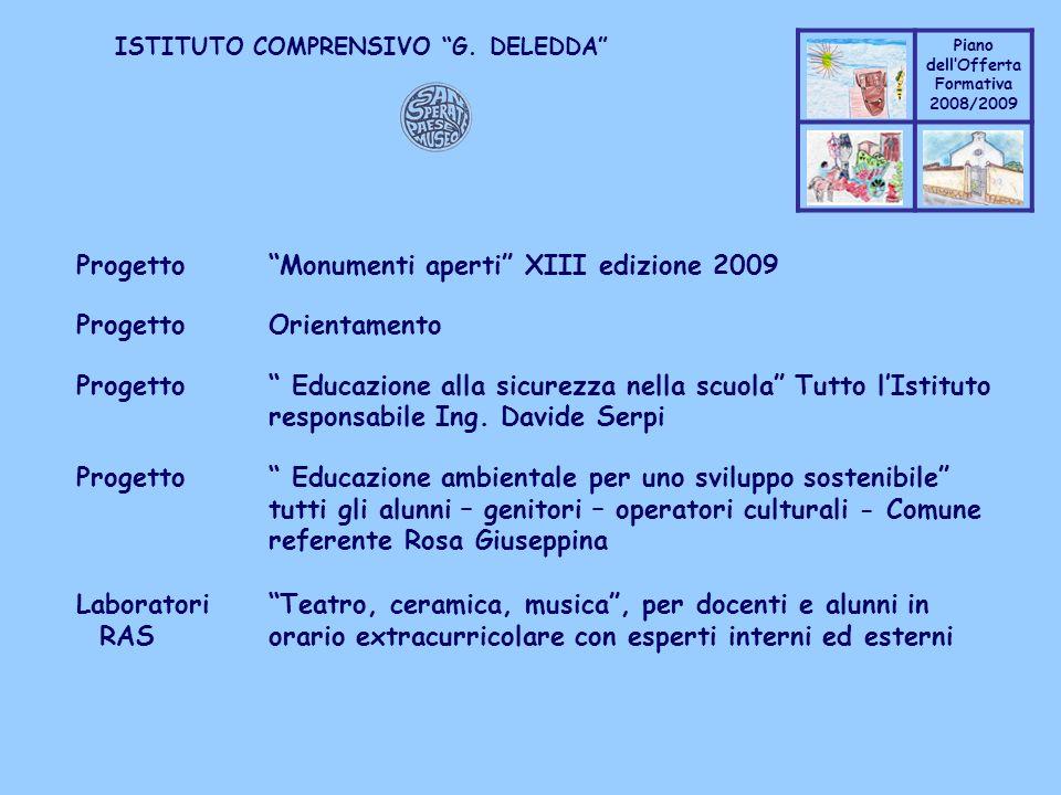Progetto Monumenti aperti XIII edizione 2009 Progetto Orientamento
