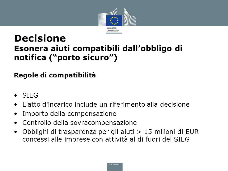 Decisione Esonera aiuti compatibili dall'obbligo di notifica ( porto sicuro )