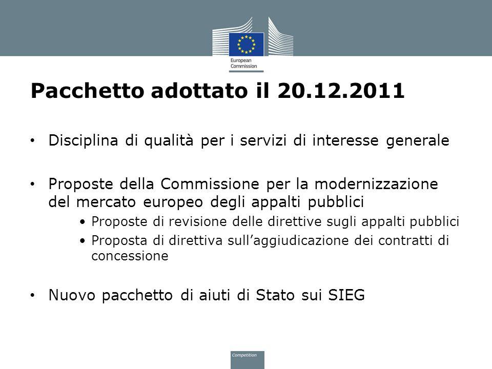 Pacchetto adottato il 20.12.2011 Disciplina di qualità per i servizi di interesse generale.