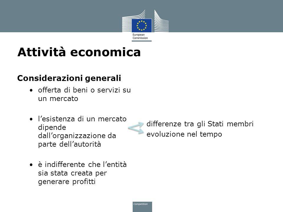 Attività economica Considerazioni generali