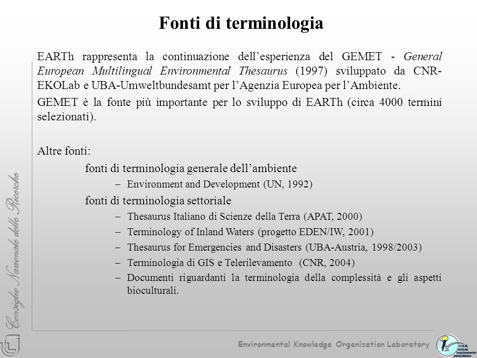 Fonti di terminologia