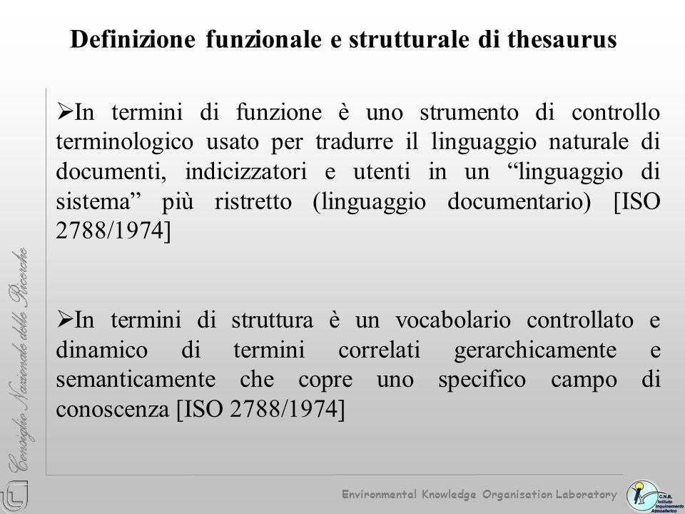 Definizione funzionale e strutturale di thesaurus