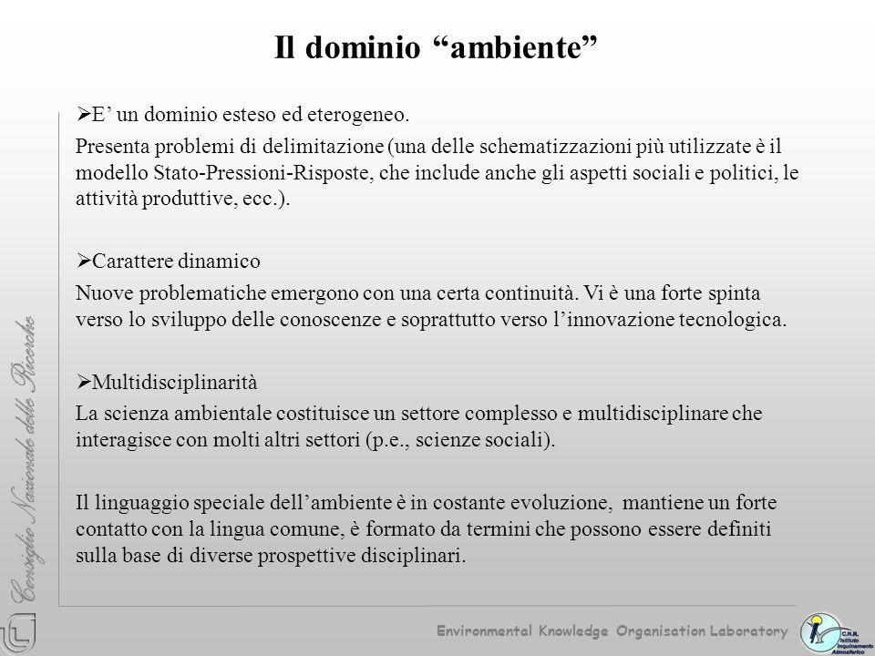 Il dominio ambiente E' un dominio esteso ed eterogeneo.