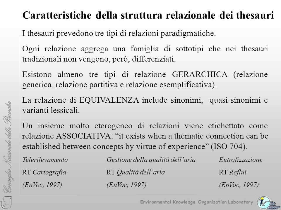 Caratteristiche della struttura relazionale dei thesauri