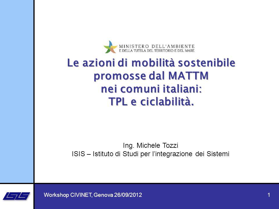 Le azioni di mobilità sostenibile promosse dal MATTM