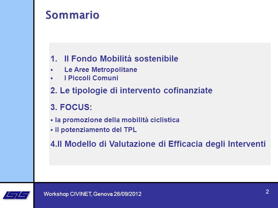 Sommario Il Fondo Mobilità sostenibile