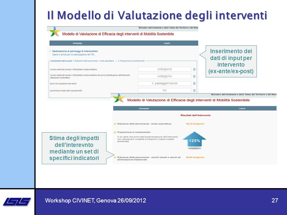 Inserimento dei dati di input per intervento (ex-ante/ex-post)