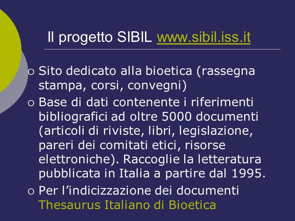 Il progetto SIBIL www.sibil.iss.it