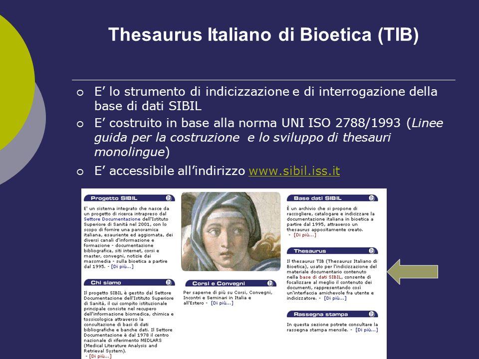 Thesaurus Italiano di Bioetica (TIB)