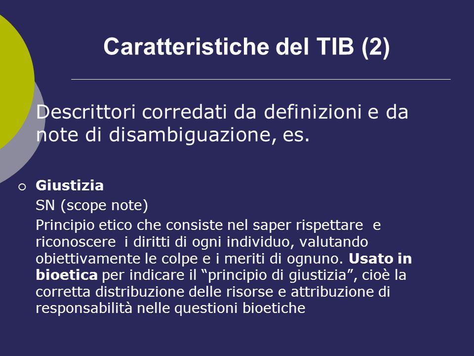 Caratteristiche del TIB (2)