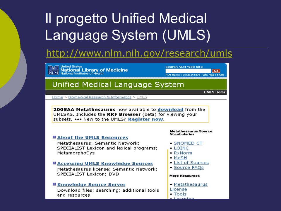 Il progetto Unified Medical Language System (UMLS)