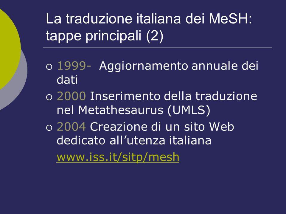 La traduzione italiana dei MeSH: tappe principali (2)