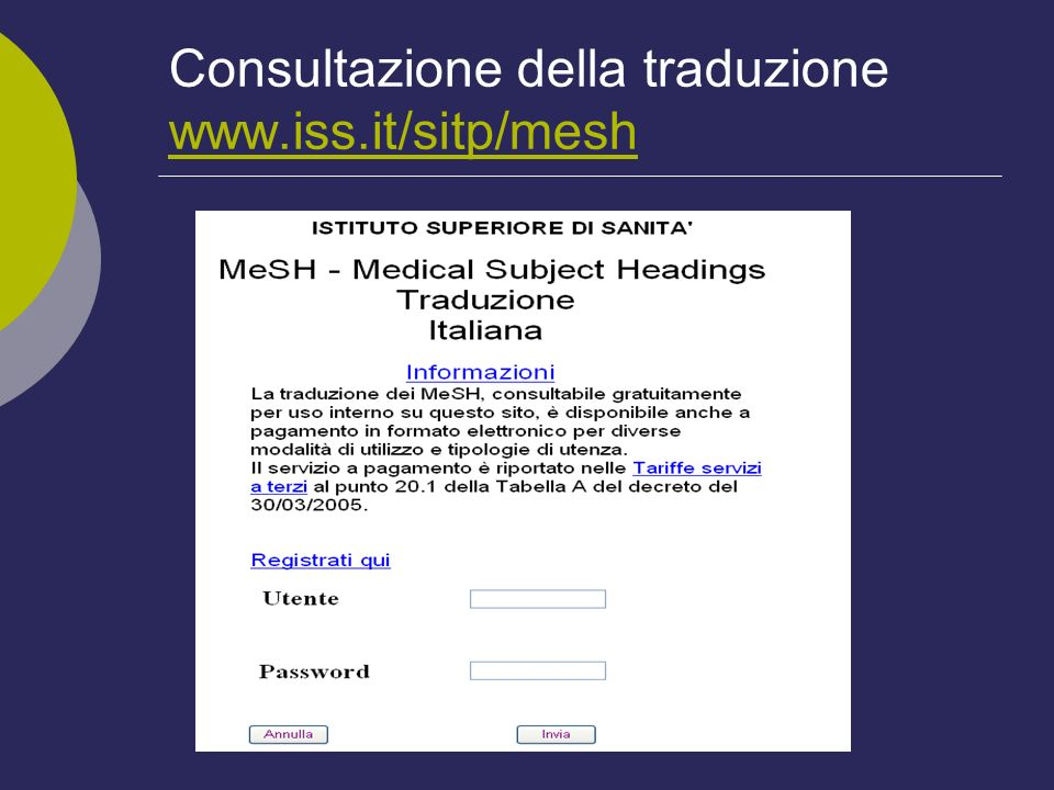 Consultazione della traduzione www.iss.it/sitp/mesh